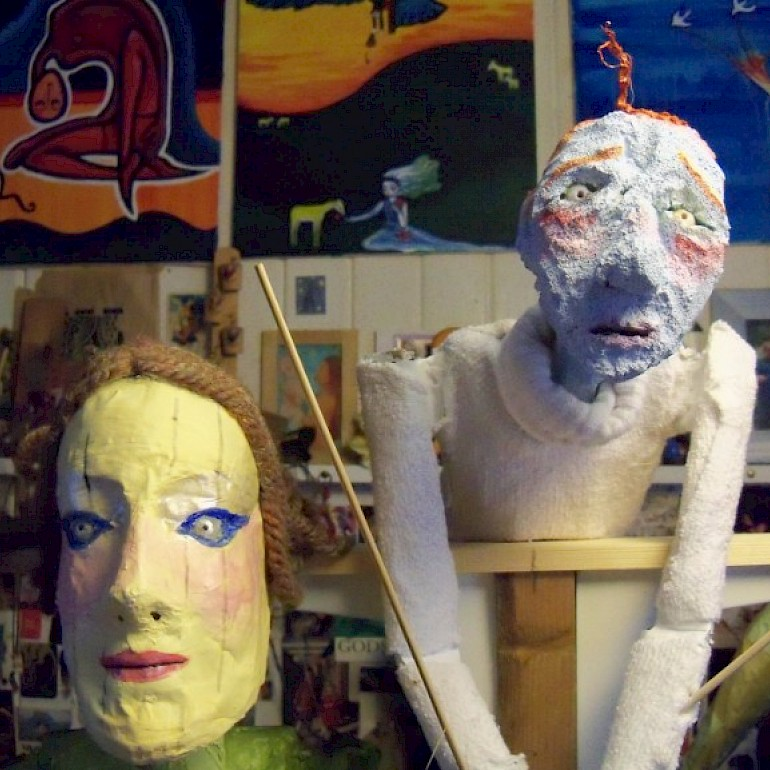 A couple of the puppets made for Jellicoe's Dispatch or Mermaids of Jutland (2015)